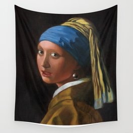Reproduction - Johannes Vermeer - Girl with a Pearl Earring Wall Tapestry