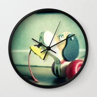 snoopy Wall Clocks featuring Snoopy dog by Gail Griggs
