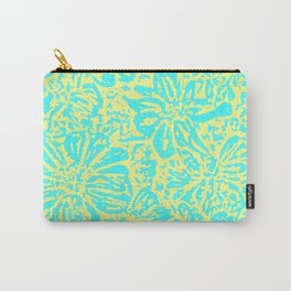 Marigold Lino Cut, Turquoise And Yellow Carry-All Pouch