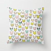 kittens Throw Pillows featuring Kittens by Elisa Mac