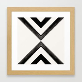 Converging Triangles Black and White Moroccan Tile Pattern Framed Art Print