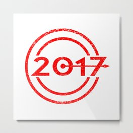 2017 Blue Date Grunge Metal Print