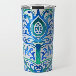 Sapphire and Emerald Watercolor Tulip Damask Travel Mug