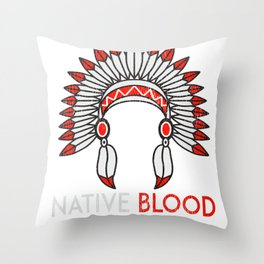 Native Blood American Indian Native American Graphic Throw Pillow