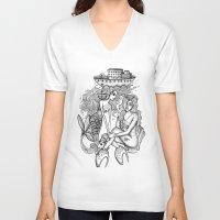 mermaids V-neck T-shirts featuring Mermaids by Christina Dedic