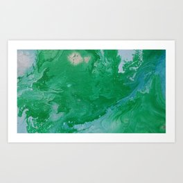 Turquoise & Blue Painted Marble Art Print