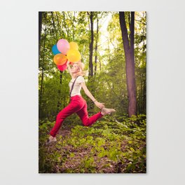 Beautiful blonde girl with colourful baloons in nature  Canvas Print