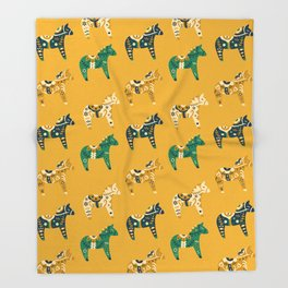 Dala Horse Pattern Throw Blanket