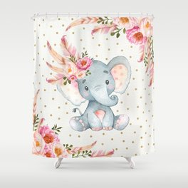 Boho Floral Elephant - Pink & Faux Gold Shower Curtain