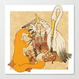 The fox and the stork Canvas Print