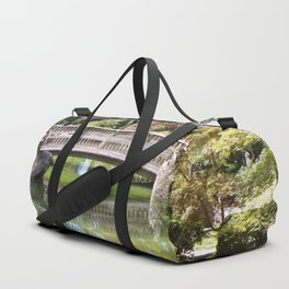 Small Wood Bridge Over Pond In Japanese Garden Duffle Bag