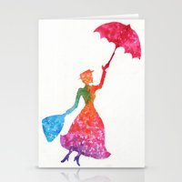 mary poppins Stationery Cards featuring Mary Poppins by Suzieque