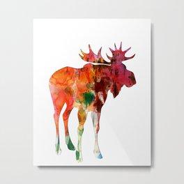 Moose Silhouette (in color) Metal Print