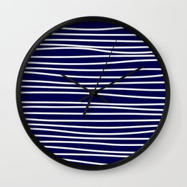 Navy Blue & White Maritime Hand Drawn Stripes- Mix & Match with Simplicity of Life Wall Clock