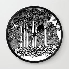 Mirkwood black and white doodle art Wall Clock
