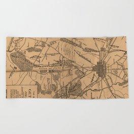 Vintage Map of The Gettysburg Battlefield (1863) 4 Beach Towel