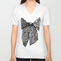 bow V-neck T-shirts featuring Bow by Samantha Turnbull