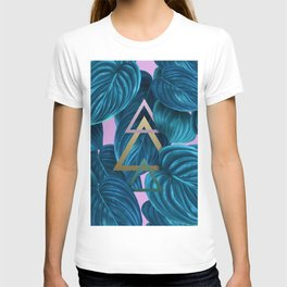 tropical turquoise leaves pattern T-shirt