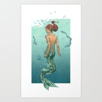 mermaid Art Prints featuring Mermaid by Calavera
