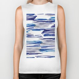 Shibori Paint Vivid Indigo Blue and White Biker Tank