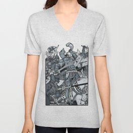 Saturday Knight Special STEEL BLUE / Vintage illustration redrawn and repurposed Unisex V-Neck