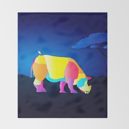 Paper Craft Rhino Throw Blanket