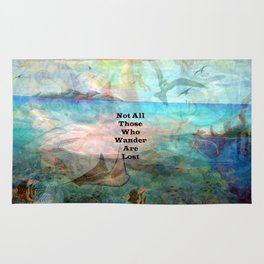 Not All Those Who Wander Are Lost Inspirational Quote With Beautiful Underwater Scene Painting Rug