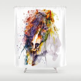 Abstract Horse Head Shower Curtain