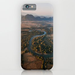 Landscape from hot air balloon, mountains and river | Aerial nature photo | Travel photography iPhone Case