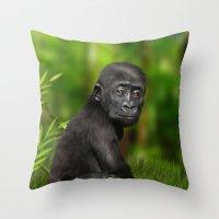 gorilla Throw Pillows featuring Gorilla by Julie Hoddinott