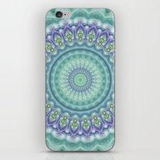 Bright Green and Purple Fractal Kaleidoscope Mandala iPhone & iPod Skin