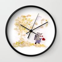 wind Wall Clocks featuring Wind by MARIA BOZINA - PRINT