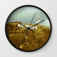 hollywood Wall Clocks featuring Hollywood by Umbrella Design