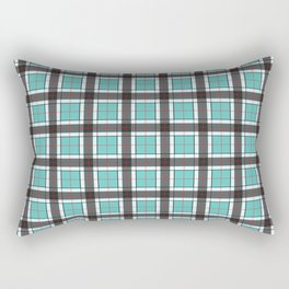 Turquoise Blue Plaid Pattern Rectangular Pillow