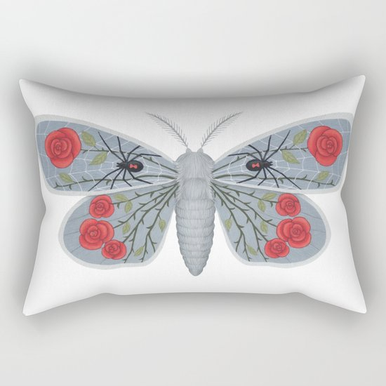spider web and rose (made up moth) Rectangular Pillow