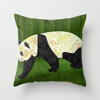 panda Throw Pillows featuring Panda by Ben Geiger