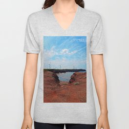 North Cape Wind Park and Cliff Unisex V-Neck