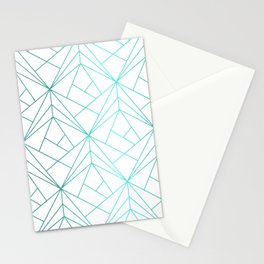 Geometric Turquoise Pattern Stationery Cards
