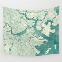 boston Wall Tapestries featuring Boston Map Blue Vintage by City Art Posters