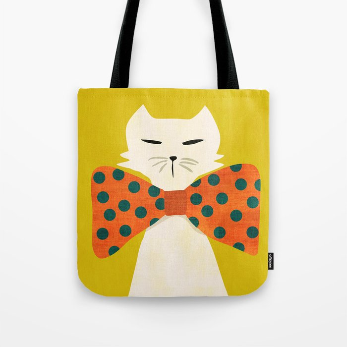 Cat with incredebly oversized humongous bowtie Tote Bag