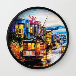 Russian Hill, San Francisco with view of Bay Wall Clock