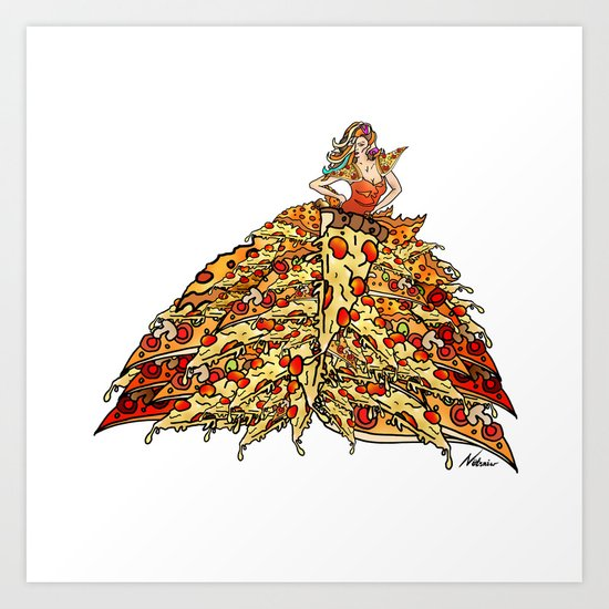 Pizza Peacock Mermaid Dress Art Print