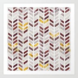 Modern Herringbone Chevron Pattern Painting Art Print