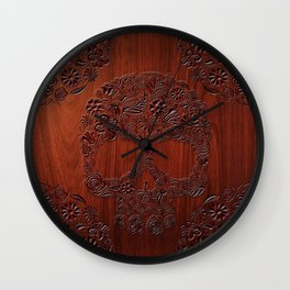 Wood Carved Sugar Skull flower pattern iPhone 4 4s 5 5s 5c, ipod, ipad, pillow case and tshirt Wall Clock