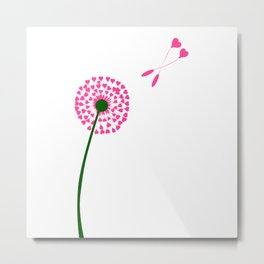 Dandelion Heart Seed Lovers Metal Print