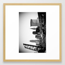 Cleveland Skyline With Veterans Memorial Bridge (Black & White) Framed Art Print