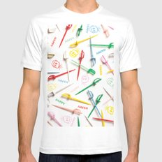 HAPPY HOUR White MEDIUM Mens Fitted Tee