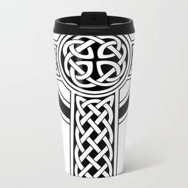 St Patrick's Day Celtic Cross Black and White Travel Mug