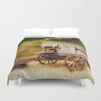 chuck Duvet Covers featuring Chuck Wagon by Mary Timman