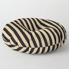 Tan Brown and Black Vertical Stripes Floor Pillow